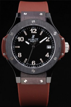 Hublot Big Bang Black Bezel Black Dial Brown Rubber Strap (hb66)