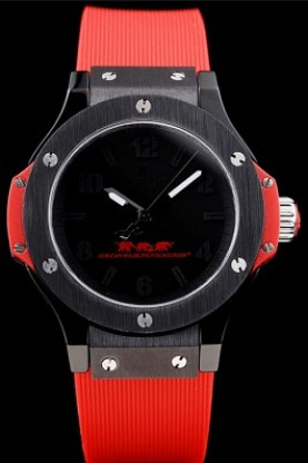 Hublot Big Bang African Wildlife Foundation Red Rubber Strap (hb