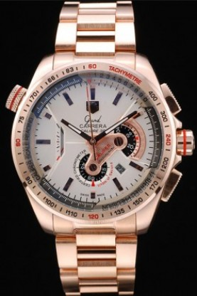 Tag Heuer Carrera Rose Gold Case White Dial (tag194)