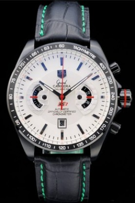 Tag Heuer Carrera Black Stainless Steel Case White Dial (tag202)