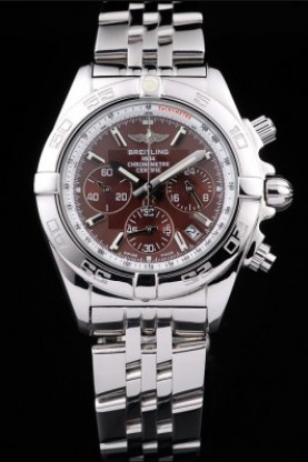 Breitling Certifie Chronograph Stainless Steel Strap Brown Dial
