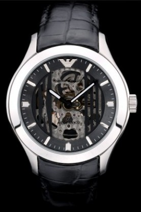 Emporio Armani Meccanico Black Leather Strap Open Dial (ea01)