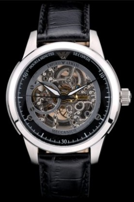 Emporio Armani Meccanico Black Leather Strap Open Dial (ea05)