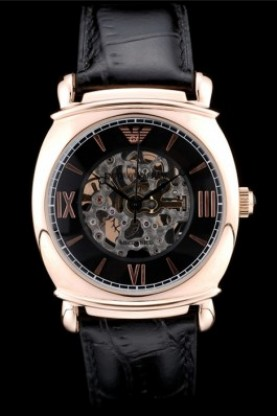 Emporio Armani Meccanico Black Leather Strap Rose Gold Bezel (ea