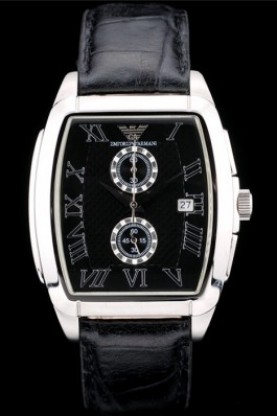 Emporio Armani Classic Black Croc Leather Strap (ea15)