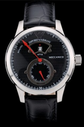 Emporio Armani Meccanico Black Leather Strap Black Dial (ea20)