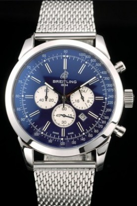 Breitling Transocean Stainless Steel Case Blue Dial (bl379) - Click Image to Close