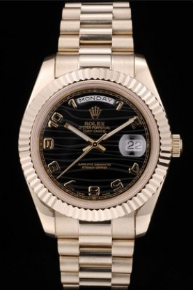 Rolex DayDate Black Patterned Dial Gold Stainless Steel Strap 41