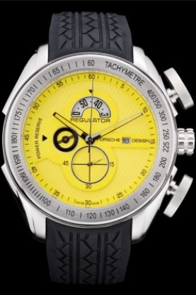 Porsche Regulator Power Reserve Silver Case Yellow Dial (pc05)