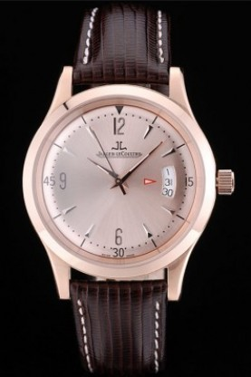 Top replica jaeger le coultre swiss master control rose gold bezel brown lea watch sale for Jaeger lecoultre kinetic