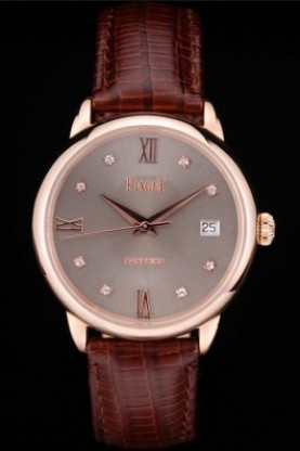 Piaget Swiss Traditional Grey Dial Brown Leather Strap 7625 (spg