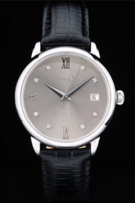 Piaget Swiss Traditional Grey Dial Black Leather Strap 7627 (spg