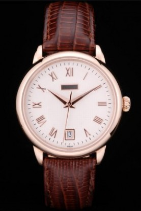 Piaget Swiss Traditional White Checkered Dial Brown Leather Stra