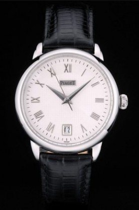 Piaget Swiss Traditional White Checkered Dial Black Leather Stra