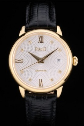 Piaget Swiss Traditional White Radial Pattern Dial Black Leather