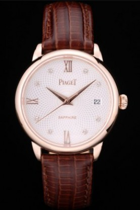Piaget Swiss Traditional White Radial Pattern Dial Brown Leather