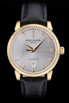 Patek Philippe Swiss Calatrava Ribbed Bezel Grey Dial Black Leat