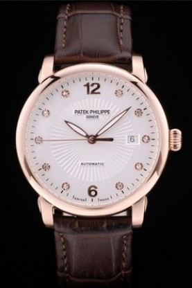 Replica Patek Philippe Swiss Calatrava Polished Bezel White Dial Brown