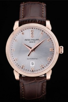Patek Philippe Swiss Calatrava Ribbed Bezel Grey Dial Brown Leat