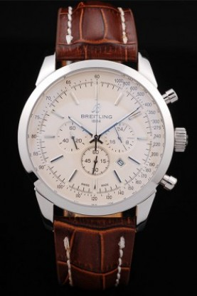 Breitling Transocean White Dial Brown Leather Strap Polished Sta