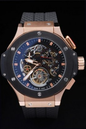 Hublot King Power Tourbillon Black Strap Gold Face (hb38)