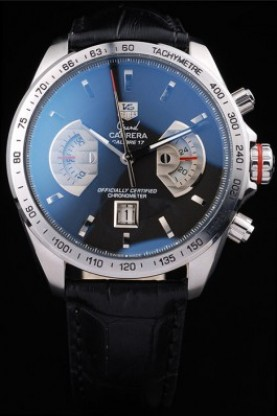 Tag Heuer Carrera Tachymeter Bezel Black Dial Black Leather Stra