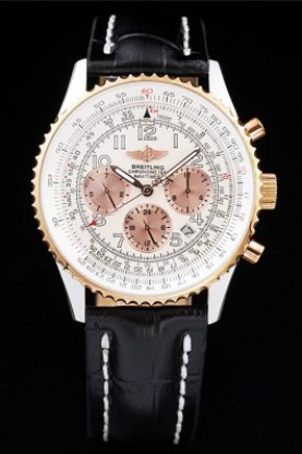 Breitling Navitimer Chronograph Black Leather Strap White Dial (