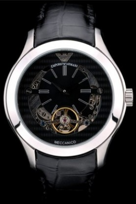 Emporio Armani Meccanico Black Leather Strap Tourbillon (ea02)