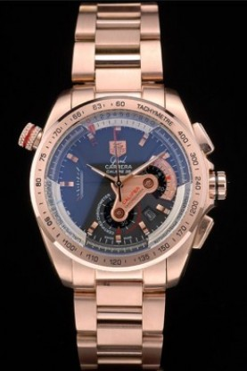 Tag Heuer Carrera Rose Gold Case and Strap Black Dial 7908 (tag2 - Click Image to Close