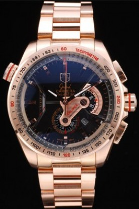 Tag Heuer Carrera Rose Gold Case Black Dial (tag195) - Click Image to Close