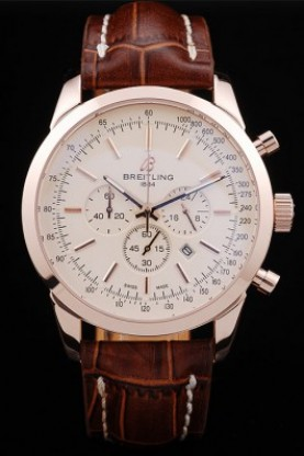 Breitling Transocean White Dial Brown Leather Strap Rose Gold Be
