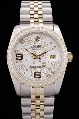 Rolex DateJust Brushed Stainless Steel Case Silver Flowers Dial