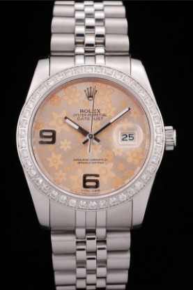 Rolex DateJust Brushed Stainless Steel Case Orange Flowers Dial
