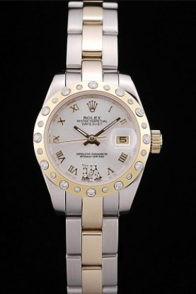 Rolex DateJust Brushed Stainless Steel Case White Dial Diamond P