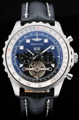 Breitling Navitimer Black Leather Strap Black Dial Tourbillon (b