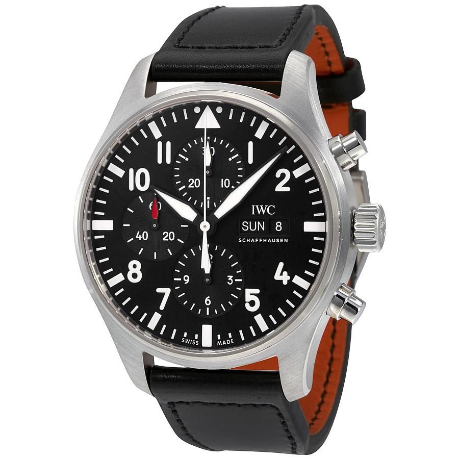 IWC Pilot Black Automatic Chronograph Men's Watch IW377709