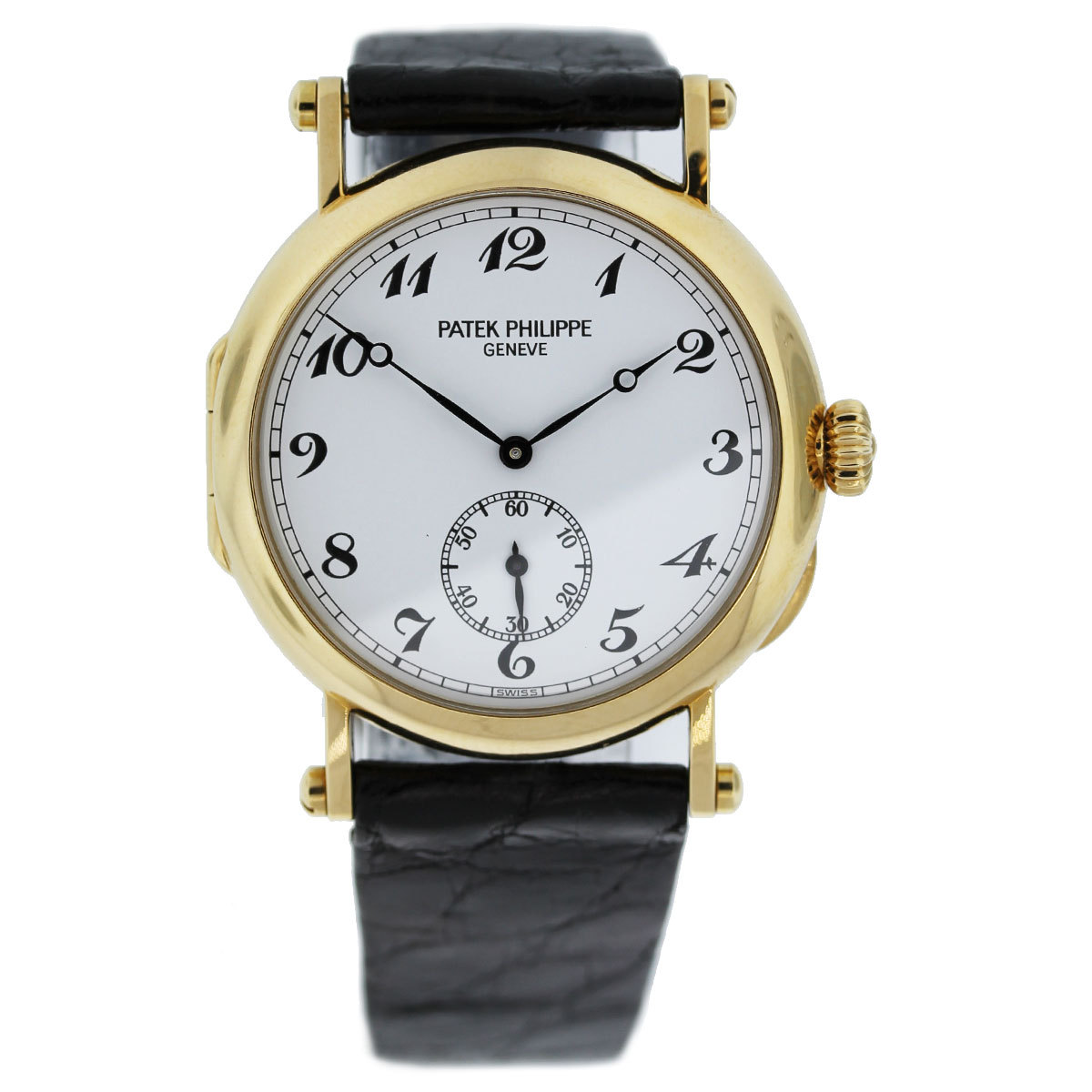 Patek Philippe Calatrava White Dial Black Leather Strap Ladies W