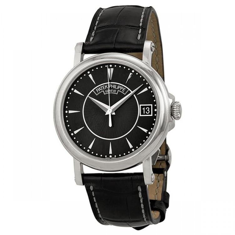 Patek Philippe Calatrava Black Dial 18k White Gold Black Leather