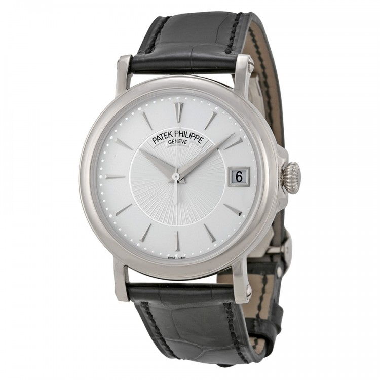 Patek Philippe Calatrava Automatic White Dial Black Leather Men'