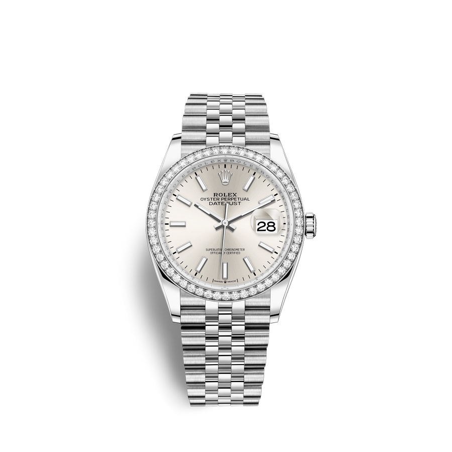 Rolex Datejust 36 Oystersteel 18 ct white gold M126284RBR-0005 Silver Dial