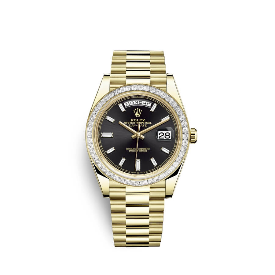 Rolex Day-Date 40 18 ct yellow gold M228398TBR-0001 Black set with diamonds Dial
