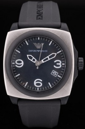 Emporio Armani Classic Black Rubber Strap Polished Stainless Ste