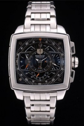 Tag Heuer Monaco Mikrograph Stainless Steel Strap Black Dial 792