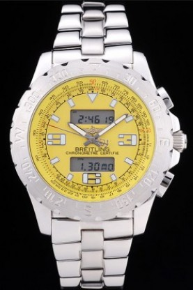 Breitling Certifie Yellow Dial Stainless Steel Strap Rose Gold B