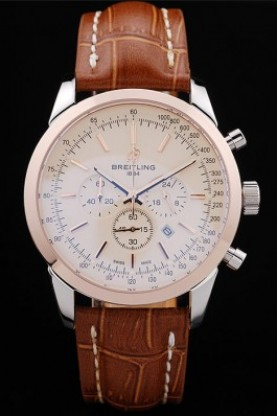Breitling Transocean White Dial Light Brown Leather Strap Rose G