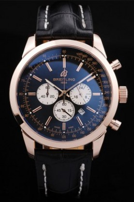 Breitling Transocean Black Dial Black Leather Strap Rose Gold Be