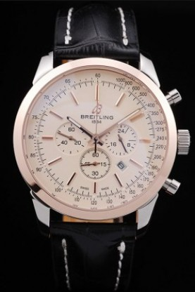Breitling Transocean White Dial Black Leather Strap Rose Gold Be