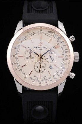 Breitling Transocean White Dial Black Rubber Strap Rose Gold Bez